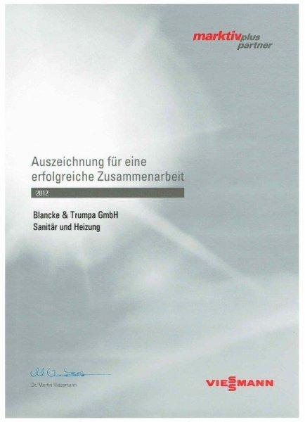 Viessmann 2012 / Auszeichnung für erfolgreiche Zusammenarbeit