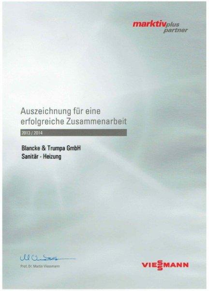 Viessmann 2013/14 / Auszeichnung für erfolgreiche Zusammenarbeit