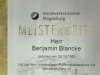 Meisterbrief Benjamin Blancke