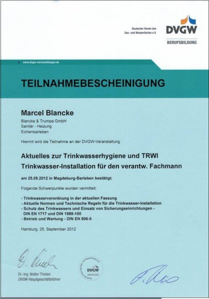 Aktuelles zur Trinkwasserhygiene und TRWI Trinkwasser-Installation für den verantw. Fachmann