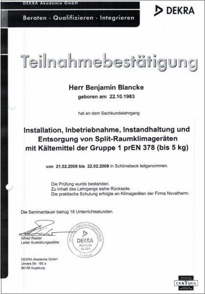 Instalation, Inbetriebnahme, Instandhaltung und Entsorgung von Split-Raumklimageräten mit Kältemittel der Gruppe 1 prEN 378 ( bis 5kg )
