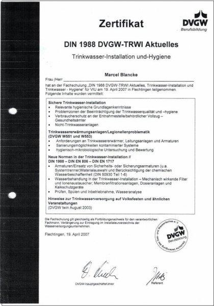 DIN 1988 DVGW-TRWI, Aktuelles, Trinkwasser-Installation und Hygiene